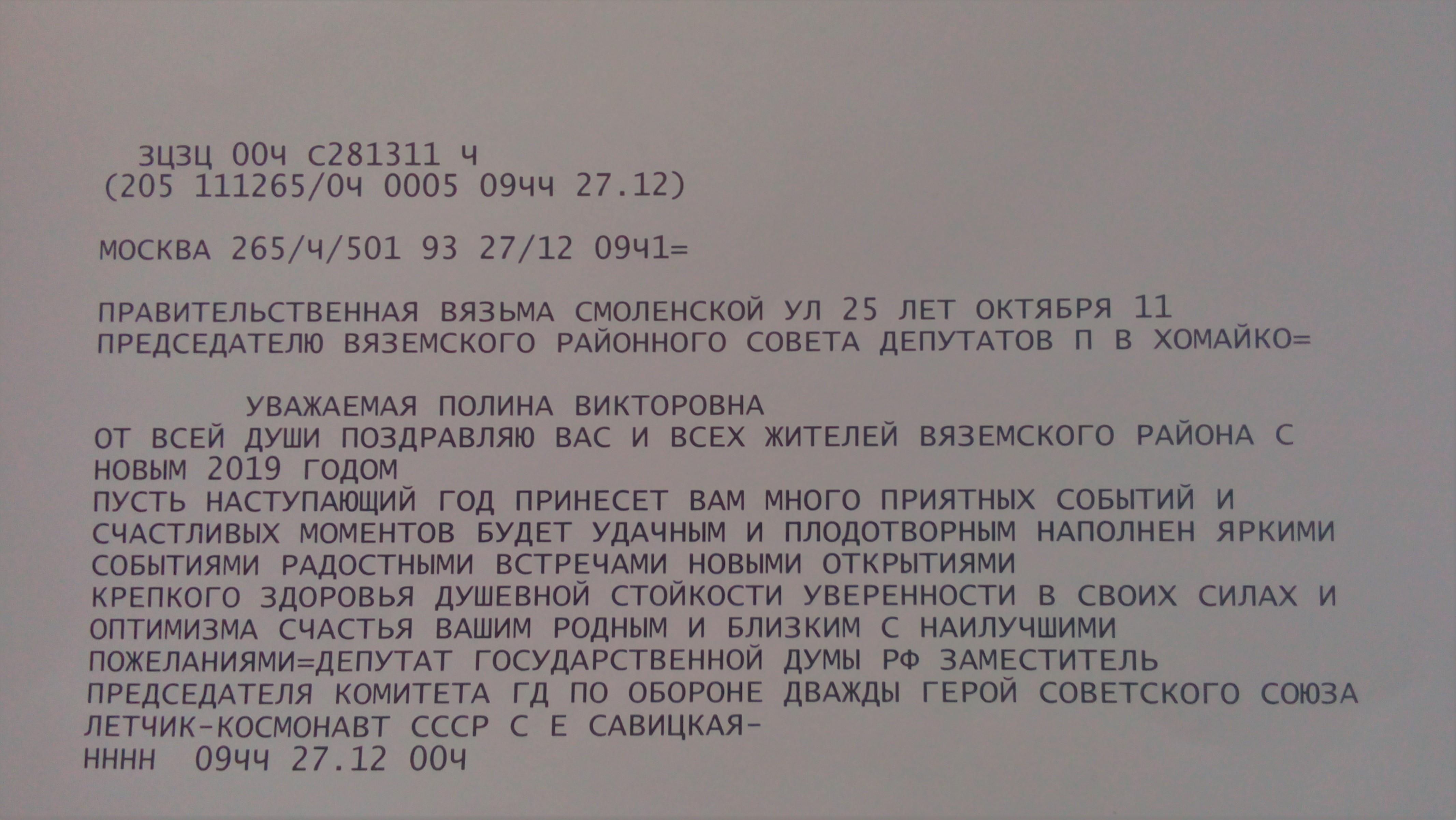 С.Е.Савицкая поздравляет жителей Вяземского района с Новым 2019 годом